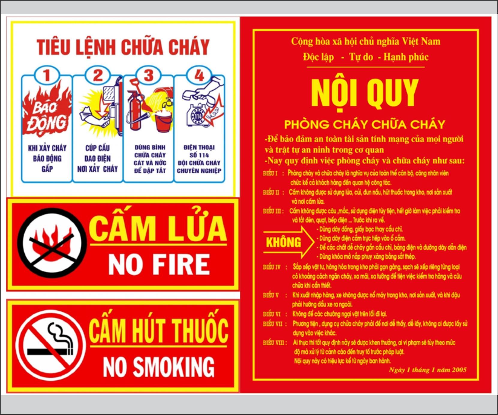 Ban hành tiêu lệnh, biển báo cấm lửa